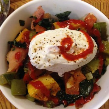 hash with poached egg