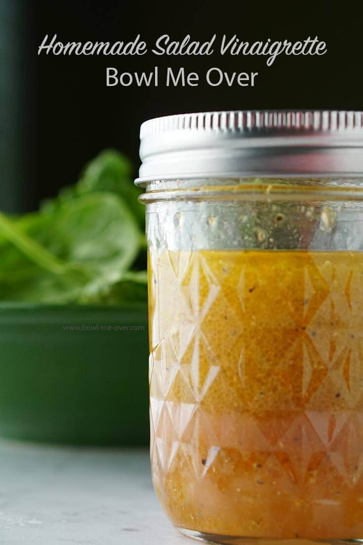 Homemade Vinaigrette keeps well in the fridge. Keeping it in a jar makes it easy to mix - just give it a big shake.