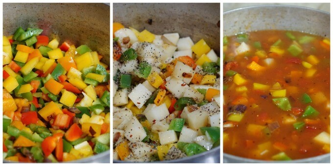 A collage showing the stages of cooking the pepper soup recipe