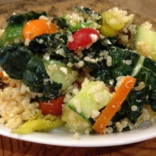 Time to try something new!  Kale and Quinoa Greek Salad