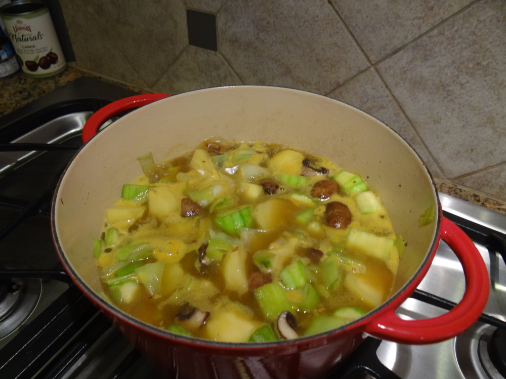 Boil the vegetables until they are tender.