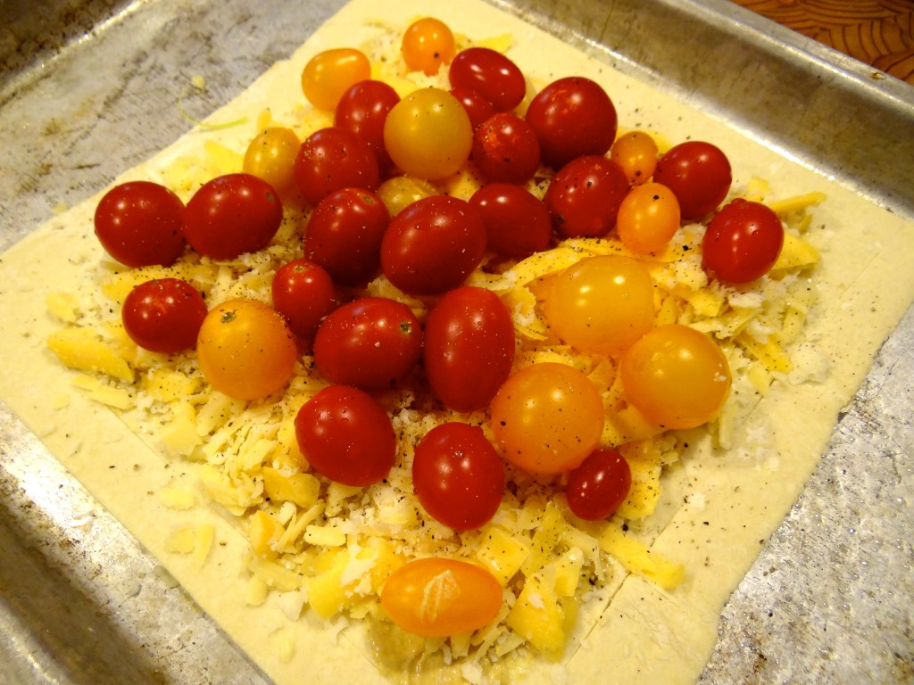 Spread with mustard, top with cheese and tomatoes.