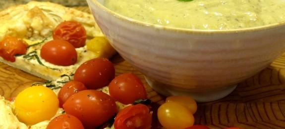 Zucchini Parmesan Soup with Tomato Tart