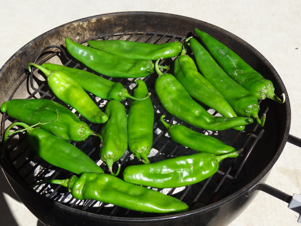Green Chilies on the grill.