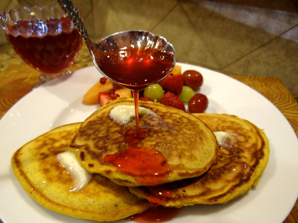 Pumpkin Pancakes with Strawberry Syrup