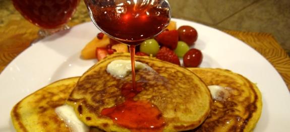 Pumpkin Pancakes with Strawberry Jam