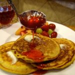 Pumpkin Pancakes with Strawberry Jam