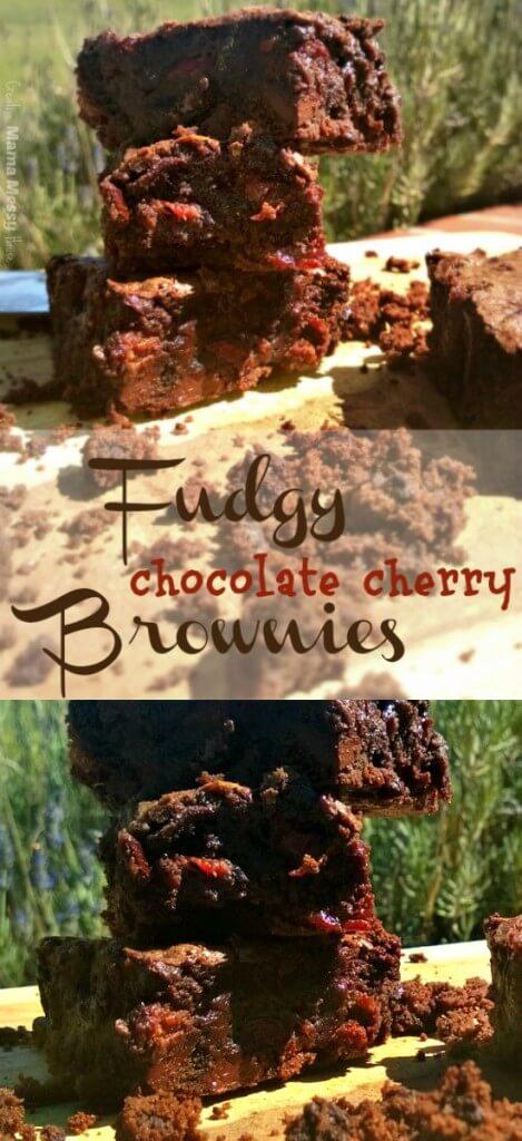 Fudgy Dark Chocolate Cherry Brownies