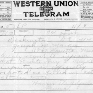 Western Union Telegram listing Guy Marker as Killed in Action