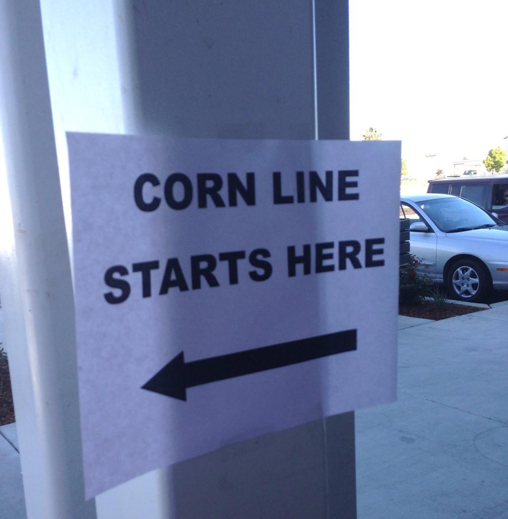Corn Line Starts Here