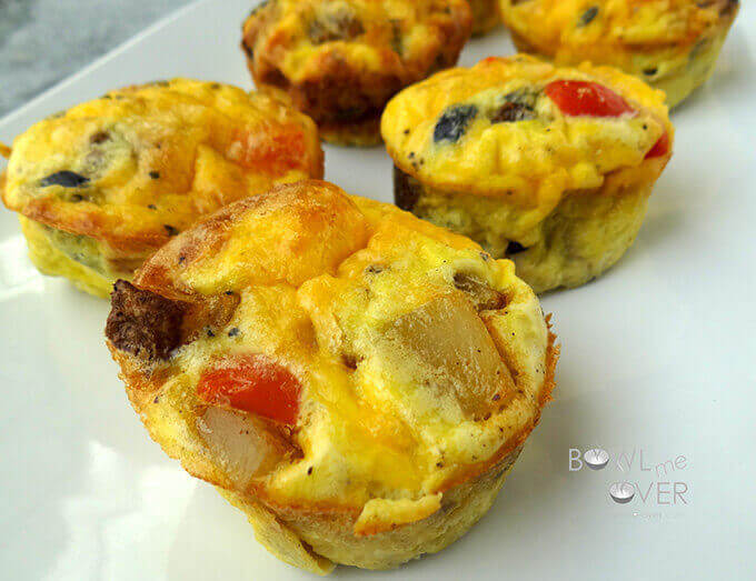 Make ahead breakfast Egg Muffins on white plate