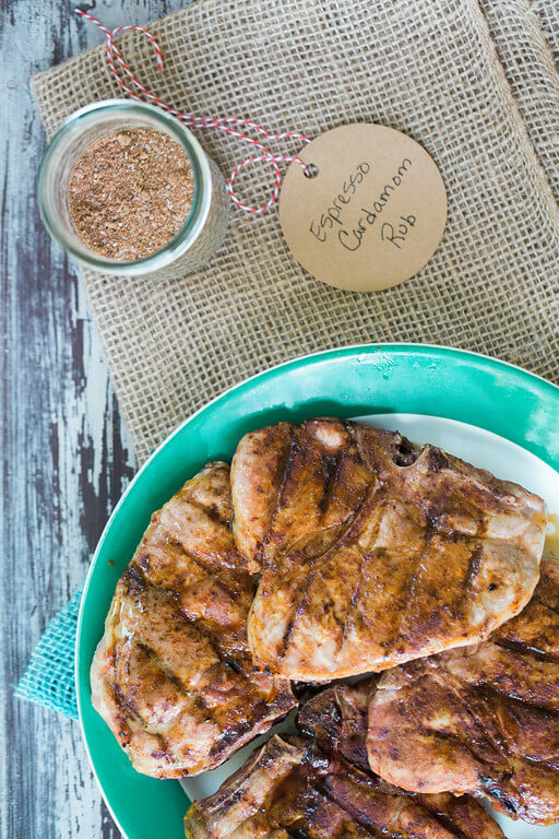 Grilled Pork Chops with Espresso Cardamom Rub