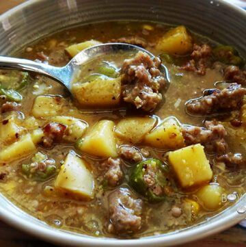 Okra Stew with Sausage in a bowl
