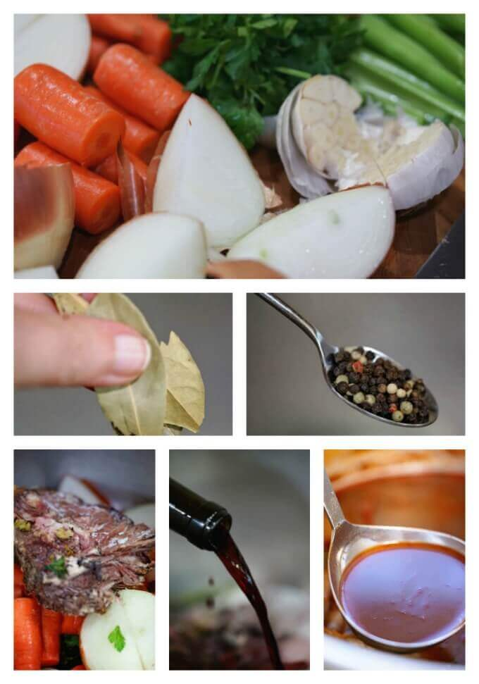 Collage; Step-by-step photos how to make beef stock
