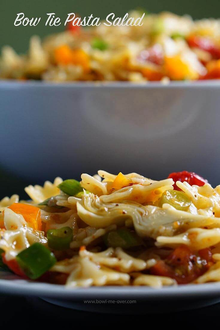 Easy bow tie pasta salad recipes are filled with crunchy vegetables and bright tangy dressing.
