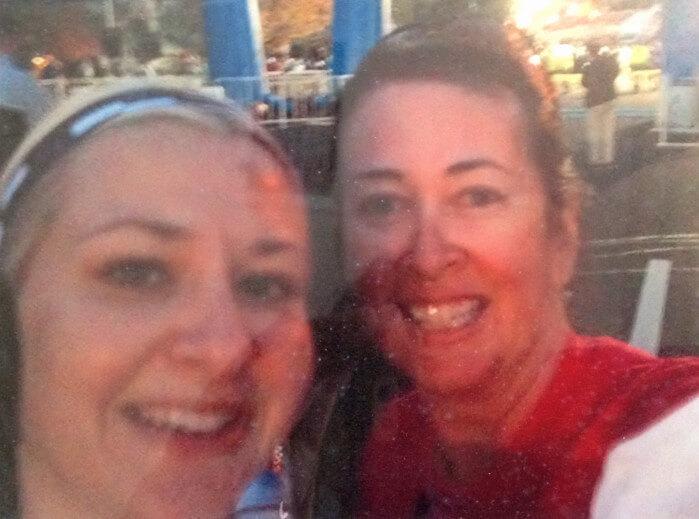 Jessica & Deb at the start of the California International Marathon