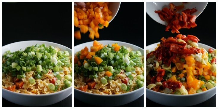 3 pictures with step by step directions to make bow tie pasta salad recipes