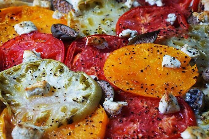Tomato Tart with Goat Cheese and Capers - Bowl Me Over