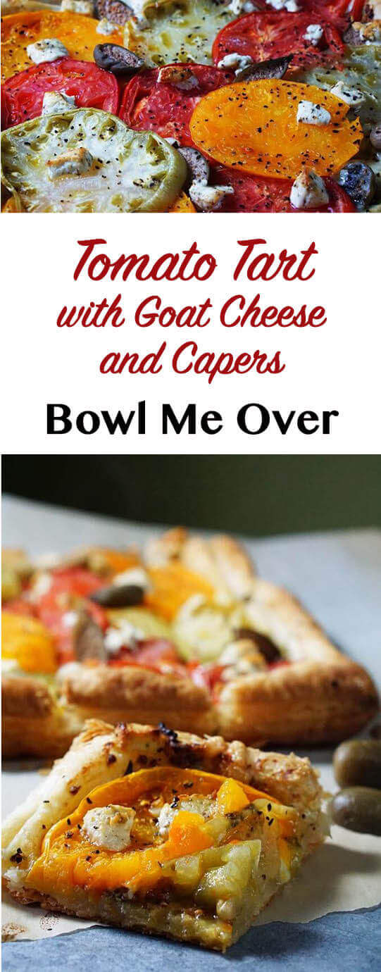 Tomato Tart with Goat Cheese and Capers - Delicious for dinner and fancy enough for a buffet - this tart is super easy too! #tomatotart #tomatotartrecipe #easyrecipe #tomatosandwich #bowlmeover