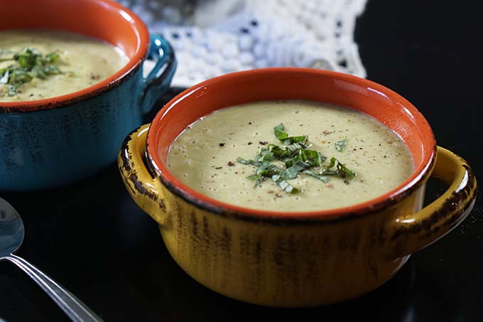 Bowls of creamy soup