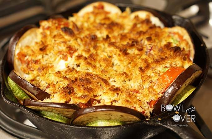 Baked Vegetable Casserole in cast iron skillet