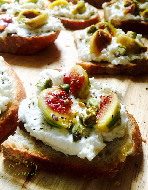roasted fig ricotta honey pistachio crostini hero