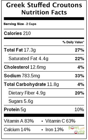 Greek Stuffed Croutons Nutritional Information