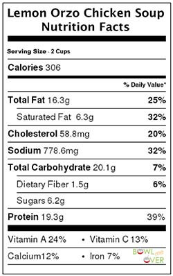 Lemon Orzo Chicken Soup Nutrition Facts
