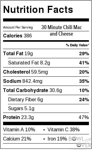 Nutritional Information Chili Mac and Cheese