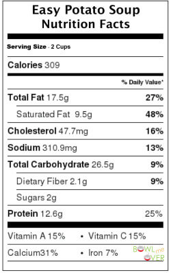 Easy Potato Soup Nutritional Information