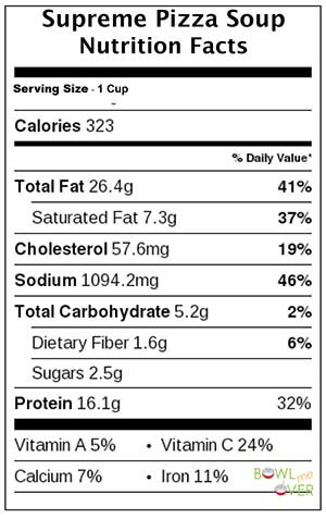 Supreme Pizza Soup Nutritional Facts