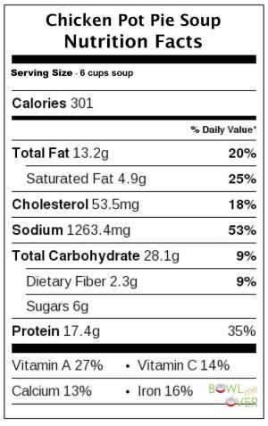 Chicken Pot Pie Soup Nutritional Facts