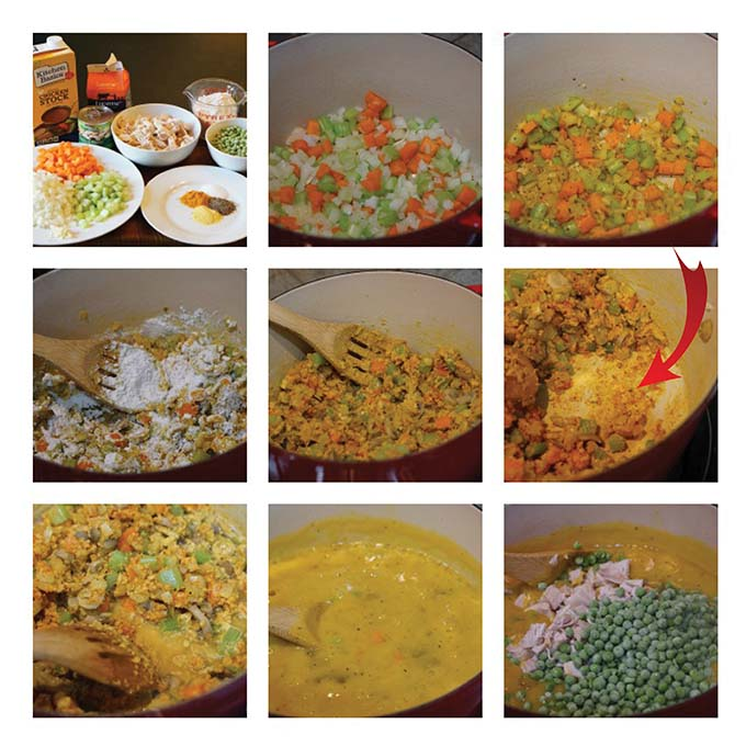 Here are some step by step picture for Chicken Pot Pie Soup