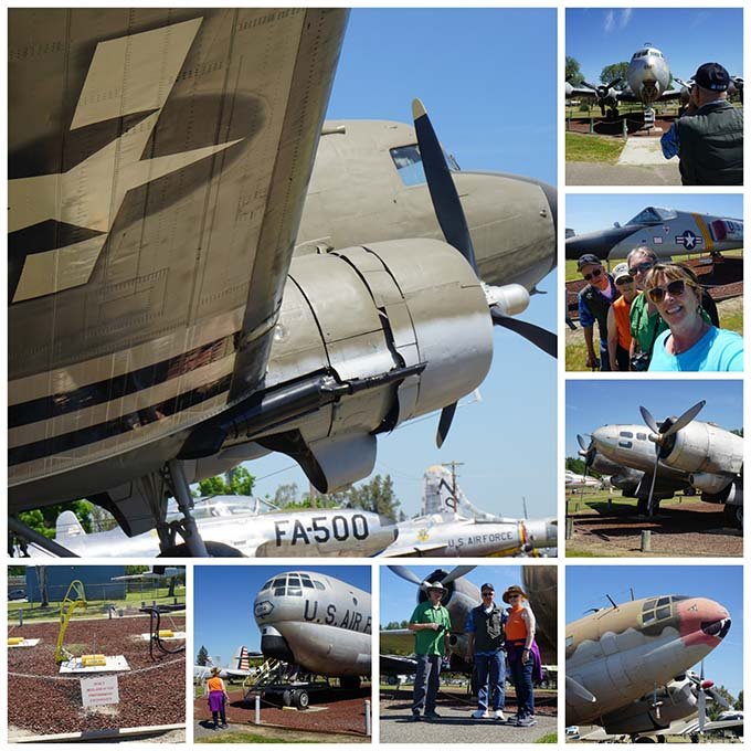 A collage of airplane photos from the Castle Air Museume