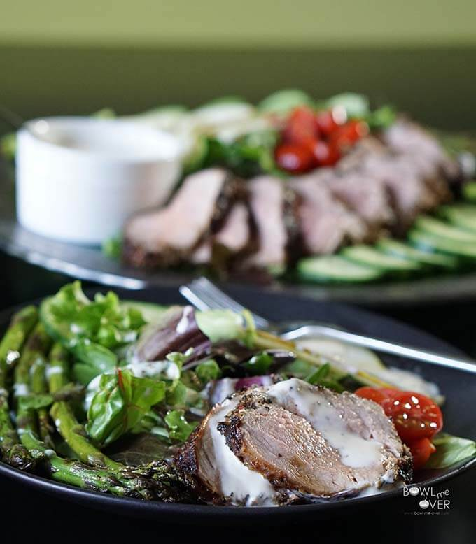Grilled Tenderloin Salad with Creamy Apple Cider Vinaigrette