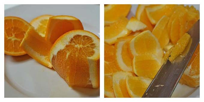 Peel the oranges and remove the segments.