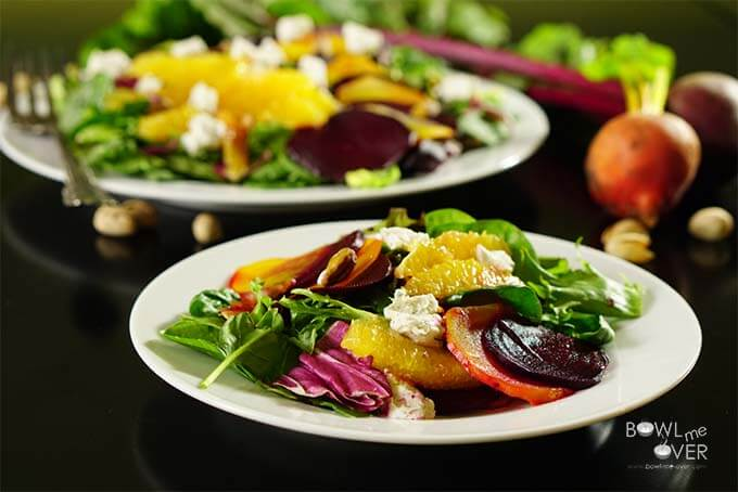 Roasted Beet Orange Salad with Pistachios.