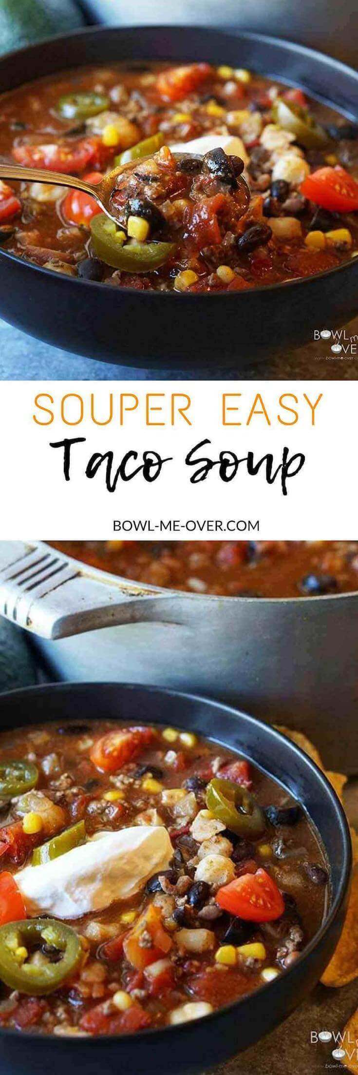 Easy Taco Soup is a spicy and delicious soup that's made with pantry staples! I#TacoSoup #BowlMeOver
