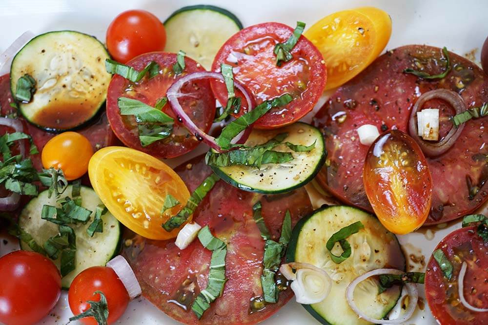 Tomatoes, cucumbers, onions and basil - doesn't get much better than this!