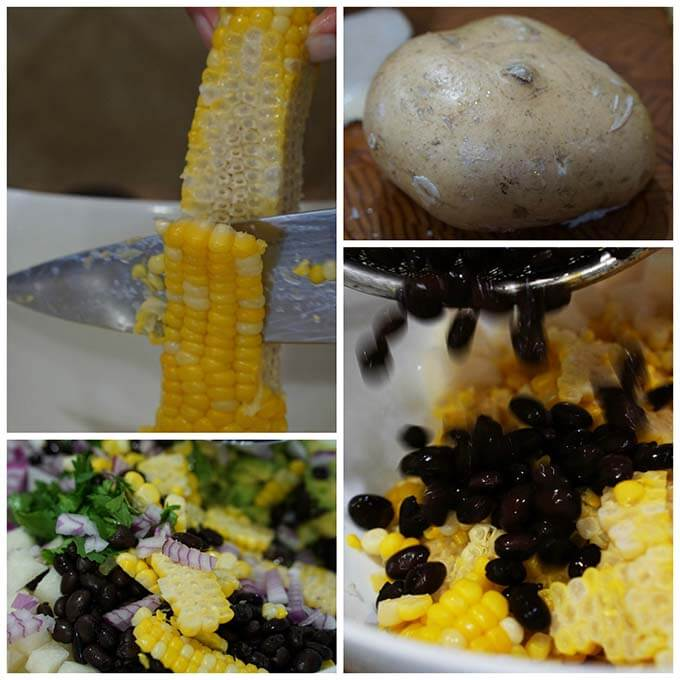 Making Black Bean Corn Salad