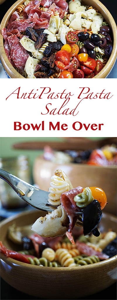 Antipasto Pasta Salad - All the flavors of your favorite Antipasto Platter in a salad! Big flavors w/just a little work! Bowl Me Over