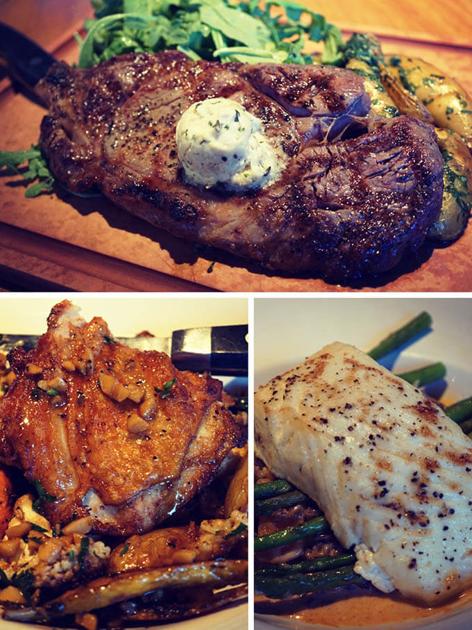 Fire-Grilled Ribeye, Hearth Roasted Halibut or Roasted Garlic Chicken - you decide!