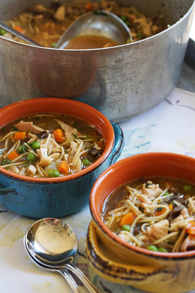 Two bowls of Homemade Chicken Noodle Soup with a big pot of soup included, just in case you want another bowl