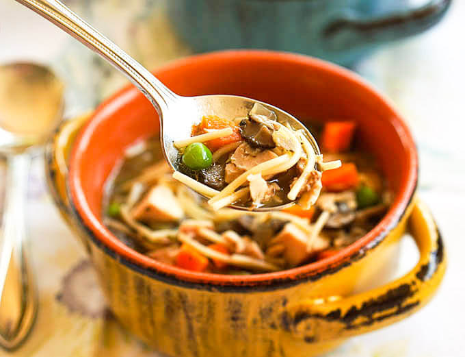 Bowl of Easy Homemade Chicken Noodle Soup Recipe with Soup