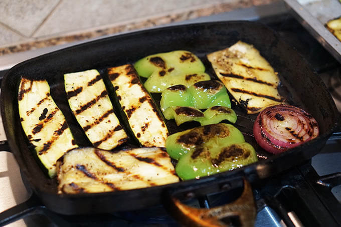 Grilling the veggies!