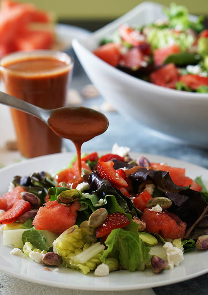 Strawberry Watermelon Salad with Strawberry Vinaigrette