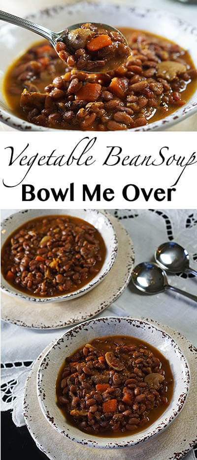 Vegetable Bean Soup is an easy soup simmered on the stove with big hearty flavor. This soup is full of vegetables and serves up a big pot of soup for just pennies per serving! #vegetablebeansoup #beansoup #homemadesoup #bowlmeover #howtomake