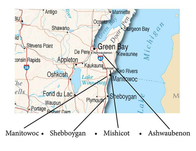 A map of Northeastern Wisconsin highlighting four cities.