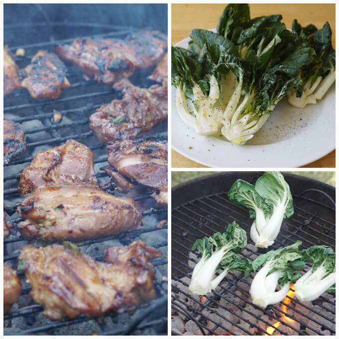 A collage or pictures. The first one show a HOT weber charcoal grill with chicken thighs being grilled. Next is bok choy that's been sliced in half and drizzled with olive oil and sprinkled with salt and pepper. Next it's being grilled.