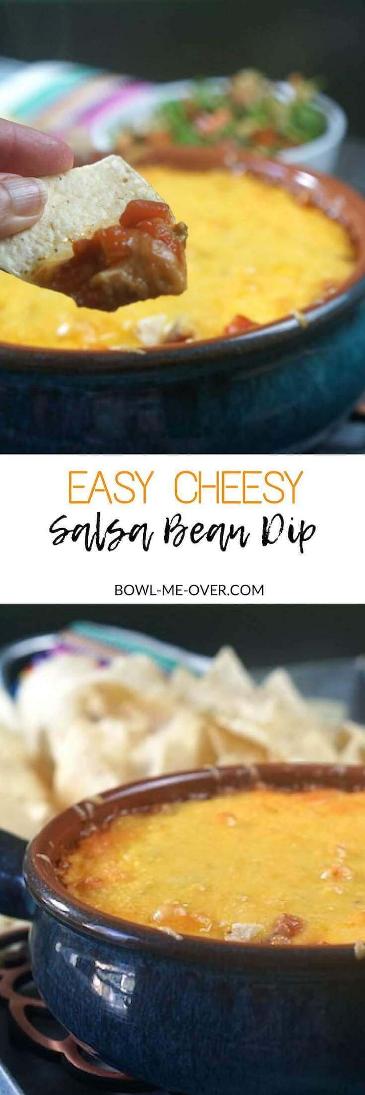 A refried Bean Dip Recipe that is only three ingredients. It's been baked in a blue ceramic bowl. There are piled of tortilla chips surrounding the tip.